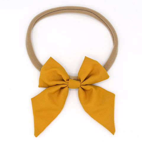 LARGE SAILOR HAIR BOW HEADBAND (MUSTARD) - QKiddo.com