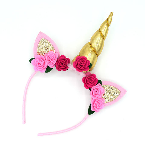 GOLD UNICORN HEADBAND - QKiddo.com