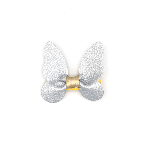 LEATHER BUTTERFLY HAIR CLIP (SILVER) - QKiddo.com