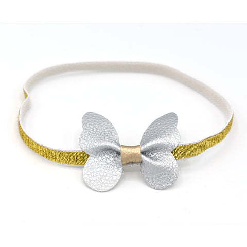 LEATHER BUTTERFLY HEADBAND (SILVER) - QKiddo.com