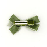 VELVET HAIR BOW CLIP (GREEN) - QKiddo.com