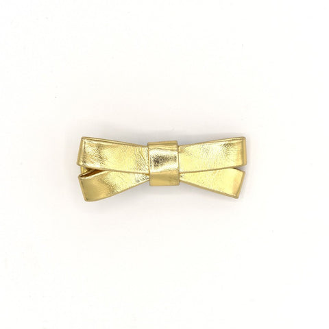 GOLD LEATHER HAIR BOW CLIP - QKiddo.com