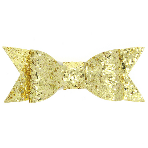 LARGE GLITTER  HAIR BOW CLIP (GOLD) - QKiddo.com