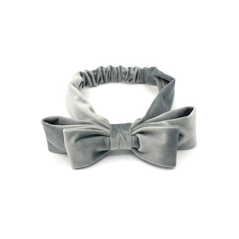 VELVET DOUBLE HAIR BOW HEADBAND (GREY) - QKiddo.com