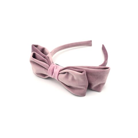 VELVET DOUBLE HAIR BOW HAIR BAND (PINK) - QKiddo.com