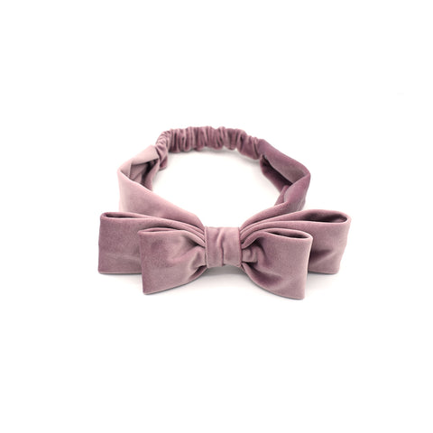 VELVET DOUBLE HAIR BOW HEADBAND (PINK) - QKiddo.com