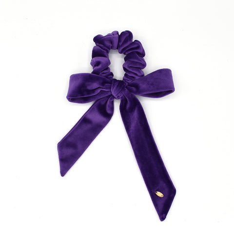 VELVET HAIR TIE BOW / SCRUNCHIE (PURPLE) - QKiddo.com