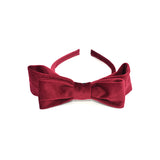 VELVET DOUBLE HAIR BOW HAIR BAND (RED) - QKiddo.com