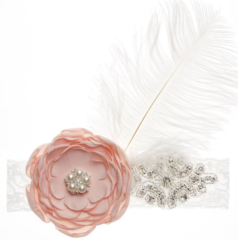 CRYSTAL FLOWER FEATHER HEADBAND - QKiddo.com