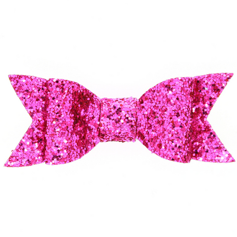 LARGE GLITTER HAIR BOW CLIP (ROSE) - QKiddo.com