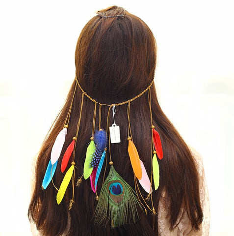 NATIVE AMERICAN INDIAN HIPPIE FEATHER HEADBAND (B) - QKiddo.com