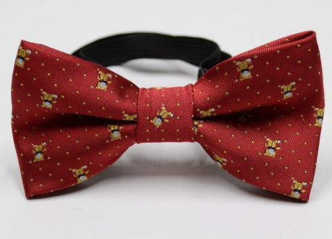 Handmade silky Embroidered Teddy Bow Tie