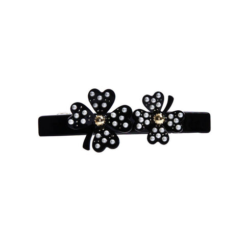 DOUBLE LUCK CLOVERS SPRING HAIR CLIP (BLACK) - QKiddo.com