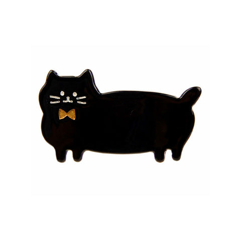 GOLD BOW TIE PUSS CAT (DUCK HAIR CLIP, BLACK) - QKiddo.com