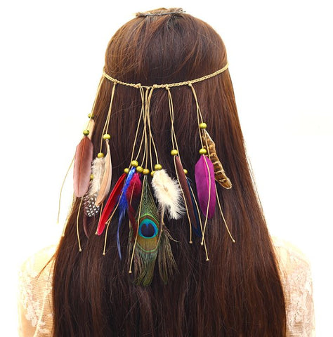 NATIVE AMERICAN INDIAN HIPPIE FEATHER HEADBAND (C) - QKiddo.com