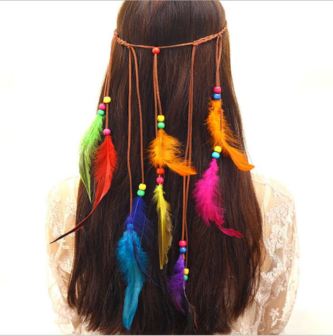 NATIVE AMERICAN INDIAN HIPPIE FEATHER HEADBAND (D) - QKiddo.com
