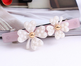 DOUBLE LUCK CLOVERS SPRING HAIR CLIP (WHITE) - QKiddo.com