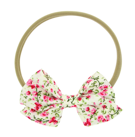 FLORAL PATTERNS HAIR BOW HEADBAND - QKiddo.com