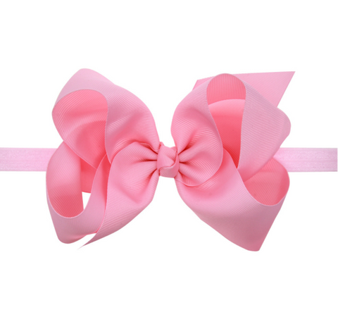 6 INCH HAIR BOW BAND (PINK) - QKiddo.com