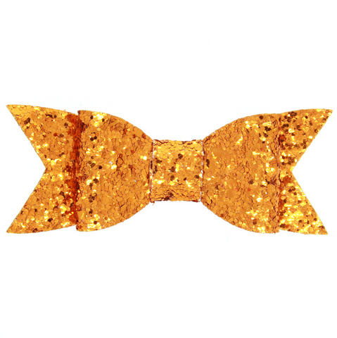 LARGE GLITTER HAIR BOW CLIP (ORANGE) - QKiddo.com