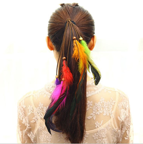 NATIVE AMERICAN INDIAN HIPPIE FEATHER HAIR TIE - QKiddo.com