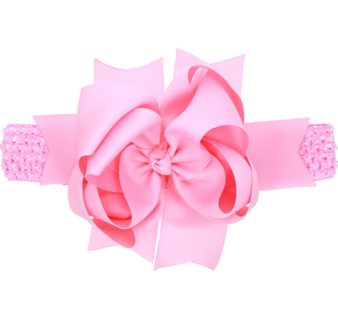 8 INCH MULTIPLE LAYERED HAIR BOW BAND WITH CLIP (PINK) - QKiddo.com