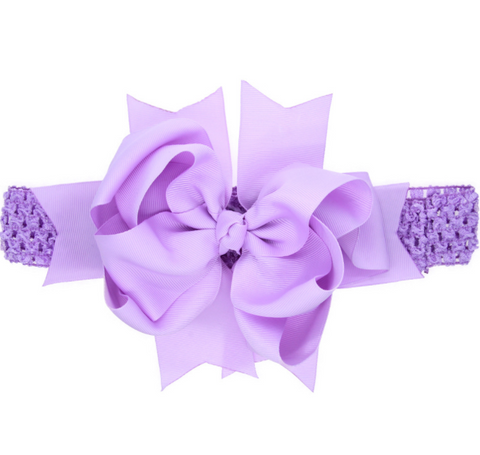 8 INCH MULTIPLE LAYERED HAIR BOW BAND WITH CLIP (PURPLE) - QKiddo.com