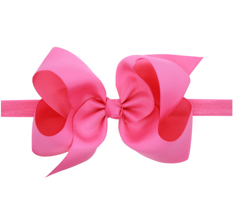 6 INCH HAIR BOW BAND (ROSE) - QKiddo.com