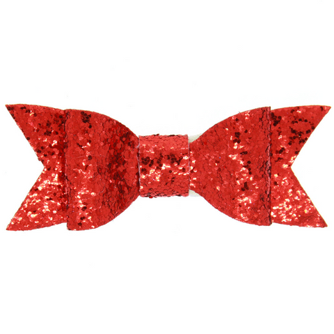 LARGE GLITTER HAIR BOW CLIP (RED) - QKiddo.com