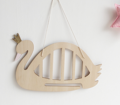 HANDMADE Swan Princess Hair Bow Holder (Eco-Friendly Wood)