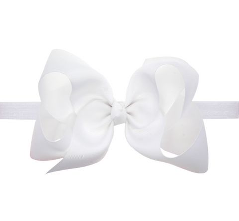 6 INCH HAIR BOW BAND (WHITE) - QKiddo.com