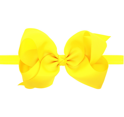 6 INCH HAIR BOW BAND (YELLOW) - QKiddo.com