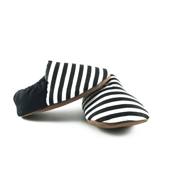 Black and White Stripes Mini Shoes