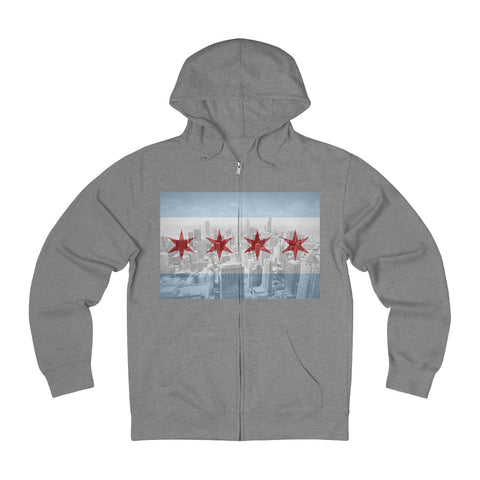 French Terry Zip Hoodie Skyline Overlay
