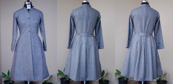 Princess style stone grey coat-front and back view