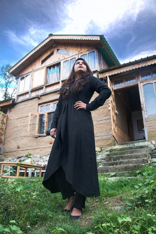 Black Merino Wool Gown