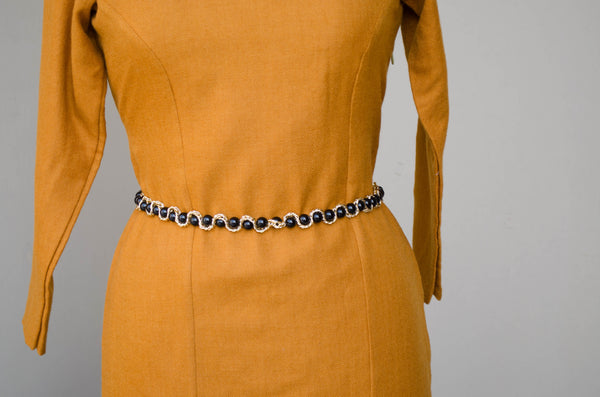 Broad Neck Mustard Sheath Dress-Waist detail