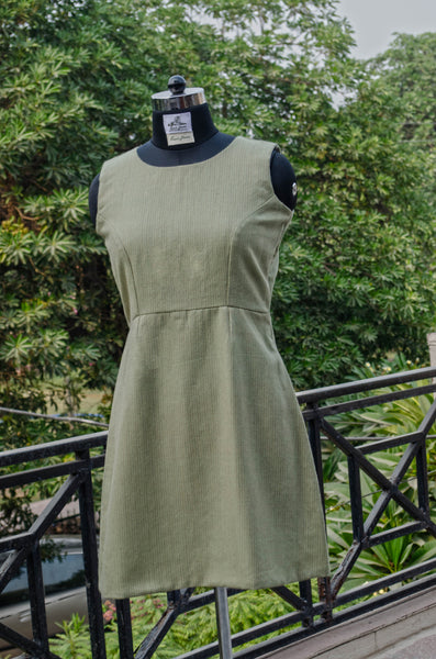 Olive sheath dress-fitting