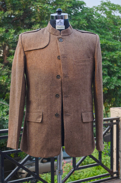 Woody brown casual men's jacket-fitting
