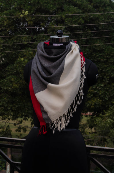 Grey and white unisex stole-view 1