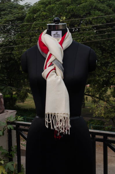 White unisex stole with red and grey design