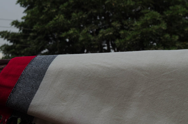 White unisex stole with red and grey design-detail