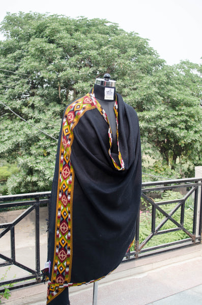 Black Kullu Shawl with Colorful Border-style 1