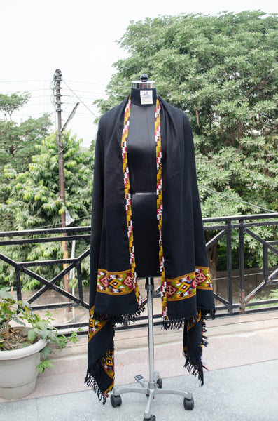 Black Kullu Shawl with Colorful Border-style 2