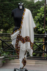 White Kullu Shawl with Colorful Border-style 1