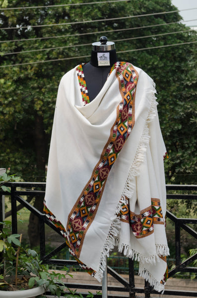 White Kullu Shawl with Colorful Border-style 2
