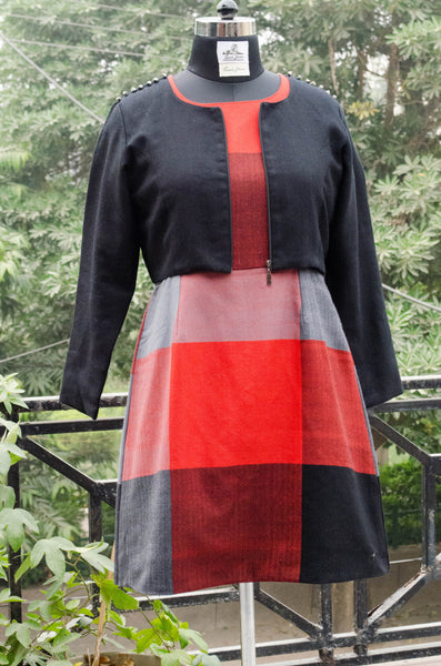 Red and Black winter dress with Big Checks and Black Jacket