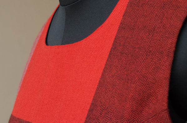 Red and Black winter dress with Big Checks-Neck detail