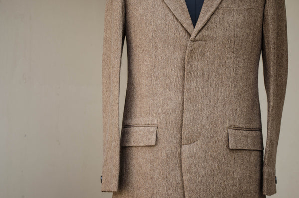 Brown Tweed Long Blazer-buttoned up