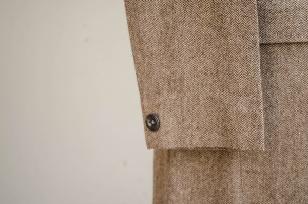 Brown Tweed Long Blazer-Sleeve detail
